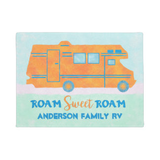 Motorhome Orange RV Summer Camper | Family Name Doormat
