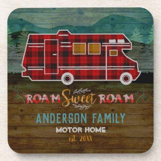 Motorhome RV Camper Travel Van Rustic Personalized Coaster