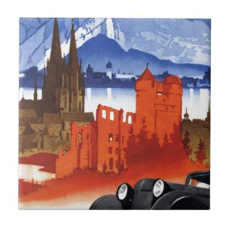Motoring in Germany Car Vintage Travel Tile
