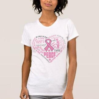 Mots de coeur de conscience de cancer du sein t-shirts
