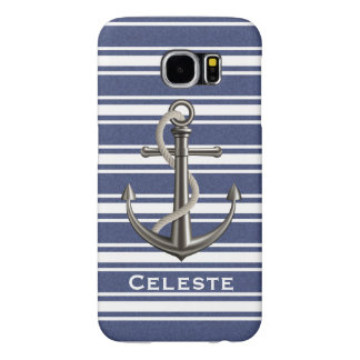Mottled Navy Blue Striped Anchor Samsung Galaxy S6 Cases