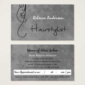 Mottled Silver Hairstylist Appointment Reminder Business Card