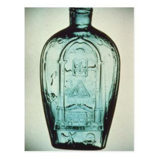 Mould-blown masonic flask postcard