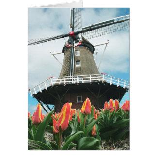 Moulin à vent de tulipes de ressort carte de vœux