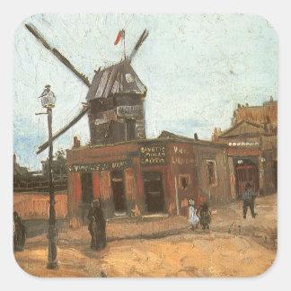 Moulin de la Galette by Vincent van Gogh, Windmill Square Sticker