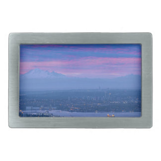 Mount Baker and Vancouver BC at Dawn Canada Rectangular Belt Buckle