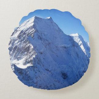 Mount Cook (Aoraki) Peak, New Zealand Round Pillow