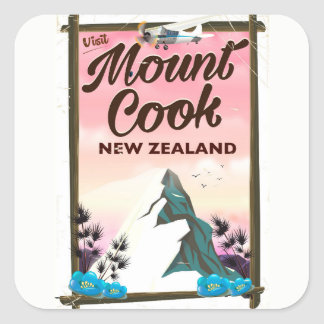 Mount Cook New Zealand travel poster Square Sticker