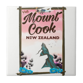 Mount Cook New Zealand travel poster Tile