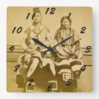 Mount Dakota Territory Crow Warrior and Bride Square Wall Clock