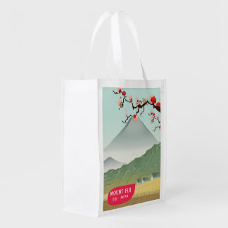mount fiji Japan vintage travel print Reusable Grocery Bag