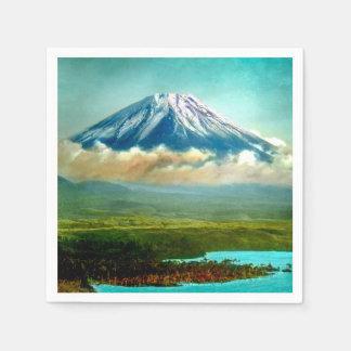 Mount Fuj beyond Lake Motos Vintage Japan 富士山 Disposable Napkins