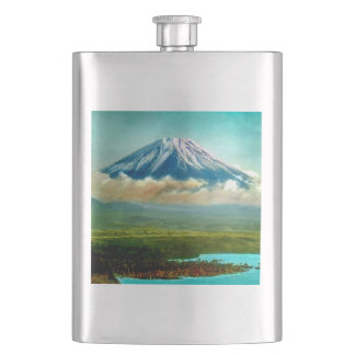 Mount Fuj beyond Lake Motos Vintage Japan 富士山 Hip Flask