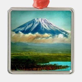 Mount Fuj beyond Lake Motos Vintage Japan 富士山 Metal Ornament