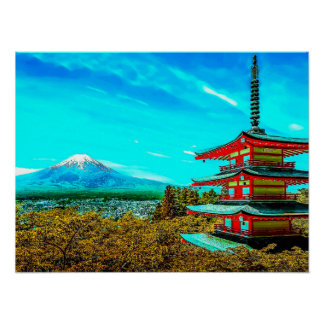 Mount Fuji and tower Poster
