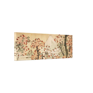 Mount Fuji behind cherry trees, flowers by Hokusai Canvas Print