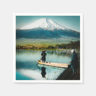 Mount Fuji from Lake Yamanaka 富士 Vintage Disposable Napkins