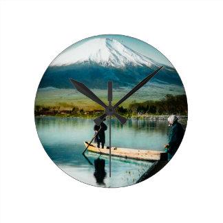Mount Fuji from Lake Yamanaka 富士 Vintage Round Clock