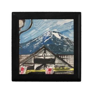 Mount Fuji Japan Wooden Oak Keepsake Box