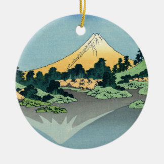 Mount Fuji reflects in Lake Kawaguchi, Hokusai Ceramic Ornament