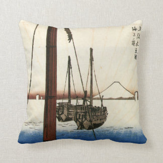 Mount Fuji Seen Across the Water Throw Pillow