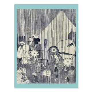 Mount Fuji through rain dropsby Katsushika,Hokusai Postcard
