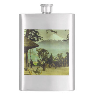 Mount Fuji through the Pines of Suzukawa Vintage Hip Flask