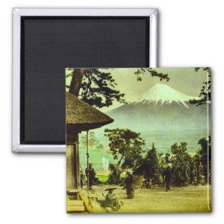 Mount Fuji through the Pines of Suzukawa Vintage Square Magnet