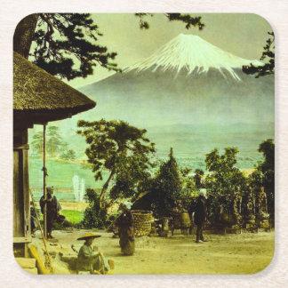 Mount Fuji through the Pines of Suzukawa Vintage Square Paper Coaster