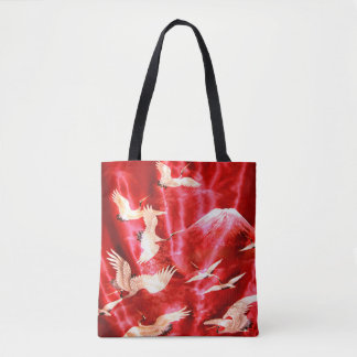 Mount Fuji With White Cranes Tote Bag