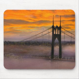 Mount Hood by St Johns Bridge during Sunrise Mouse Pad