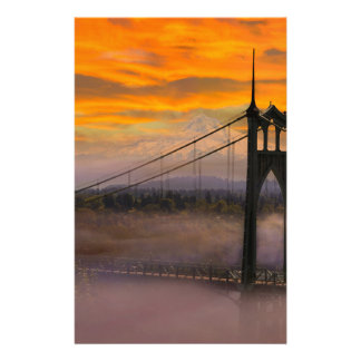 Mount Hood by St Johns Bridge during Sunrise Stationery