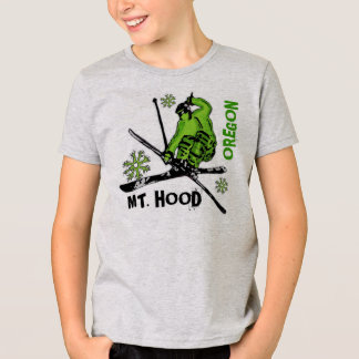 Mount Hood Oregon green skier boys tee