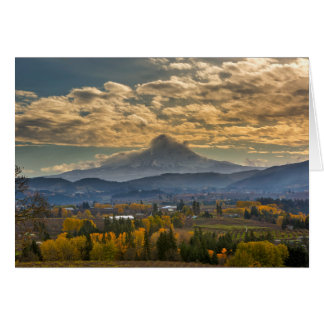 Mount Hood Over Farmland in Hood River in Fall Card