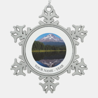 Mount Hood Reflected in Lake Snowflake Pewter Christmas Ornament