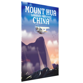 Mount Hua China vintage flight poster Canvas Print