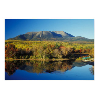 Mount Katahdin and Penobscot River in Autumn Poster