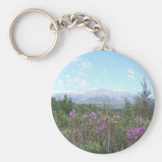 Mount Katahdin and wild flowers Keychain