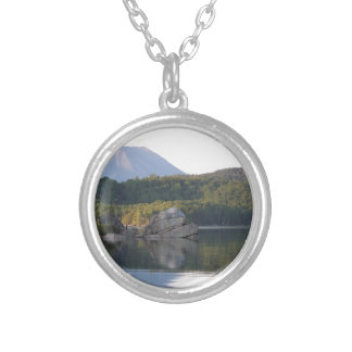 Mount Katahdin from Rainbow Lake Silver Plated Necklace