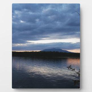 Mount Katahdin Millinocket Lake Maine at Dusk Plaque