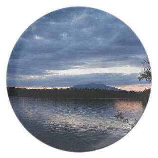 Mount Katahdin Millinocket Lake Maine at Dusk Plate