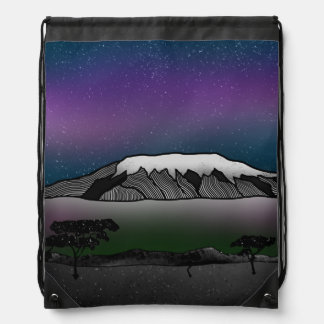 Mount Kilimanjaro illustration Drawstring Bag