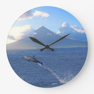 Mount Mayon & Flying Dolphins-Round (Large) Clock
