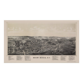 Mount Morris, NY Panoramic Map - 1893 Poster