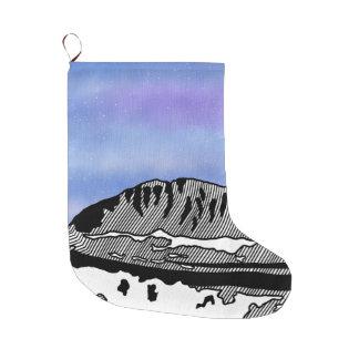 Mount Olympus Greece Illustration Large Christmas Stocking