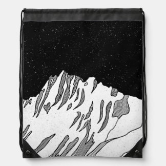 Mount Puncak Jaya black and white Drawstring Bag