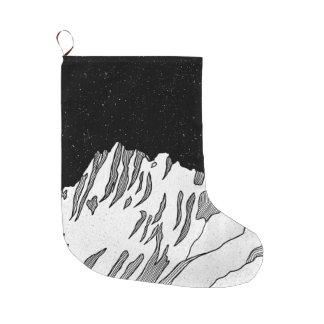 Mount Puncak Jaya black and white Large Christmas Stocking