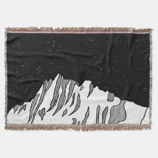 Mount Puncak Jaya black and white Throw Blanket