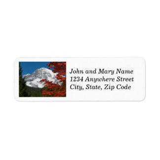 Mount Rainier and Autumn Leaves Photo Labels