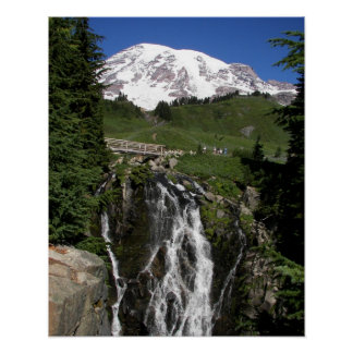 Mount Rainier and Waterfall Poster